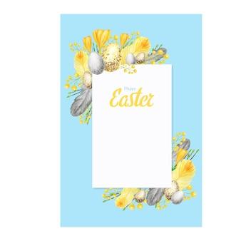 Cornice di pasqua felice primavera dell'acquerello con illustrazione dell'iscrizione