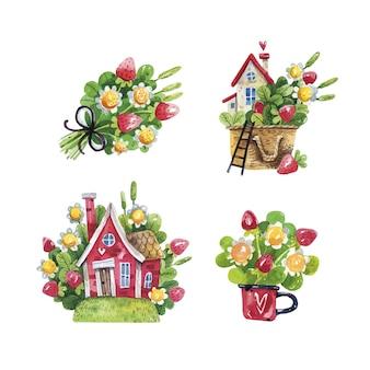 Acquerello di primavera insieme rustico con case, fragole e fiori su bianco