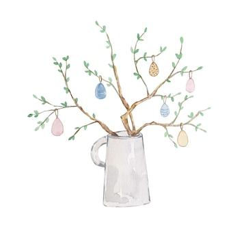 Vaso di primavera dell'acquerello con rami e uova su sfondo bianco. carta di pasqua colorata carina. ciao primavera.
