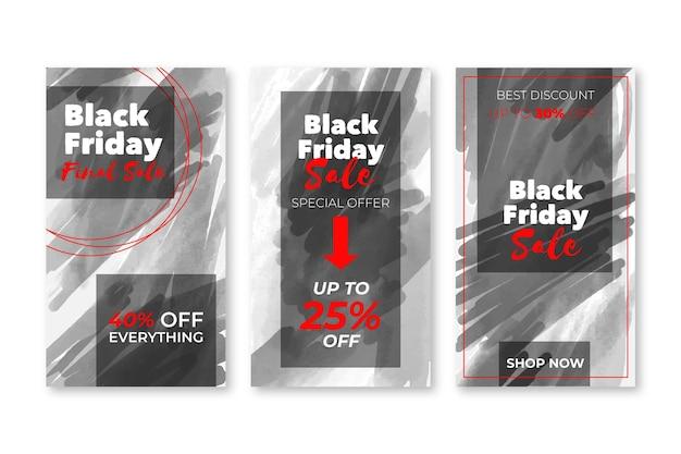 Set di storie di instagram di venerdì nero della macchia dell'acquerello