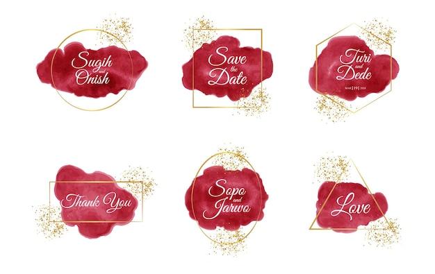 Macchie di acquerello e glitter per la raccolta di badge di nozze