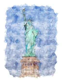 Acquerello statua della libertà acquerello newyork newyork opera d'arte opera d'arte stampabile