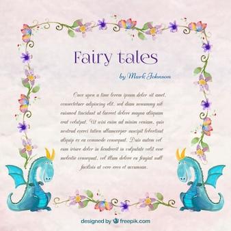 Acquerello pagina storia con draghi