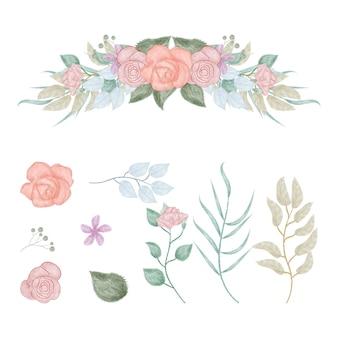 Foglie e fiori in stile acquerello