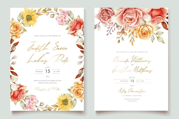 Acquerello estate floreale e foglie set di carte di invito a nozze