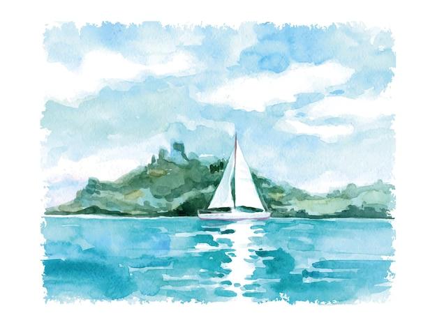 Paesaggio estivo dell'acquerello con il mare e la vela. illustrazione vettoriale.