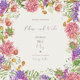 Fiori di prato estivo acquerello, fiori di campo. biglietto di auguri floreale botanico. raccolta di fiori medicinali