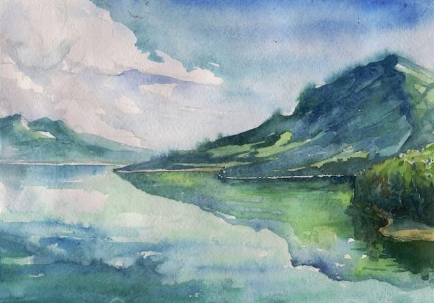 Acquerello paesaggio fluviale estivo
