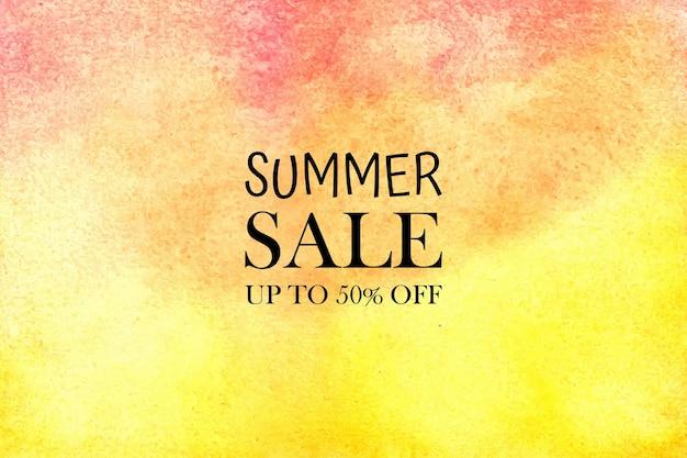 Saldi estivi dell'acquerello. macchie colorate acquerello dipinto a mano su carta