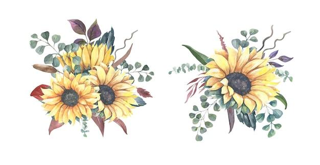 Mazzi di fiori di girasole dell'acquerello.