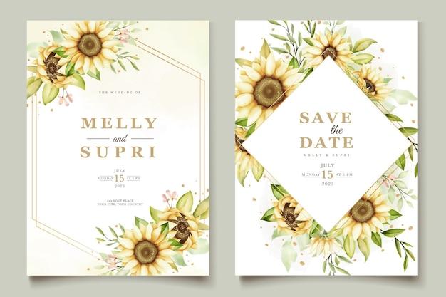 Set di carte di invito girasole acquerello