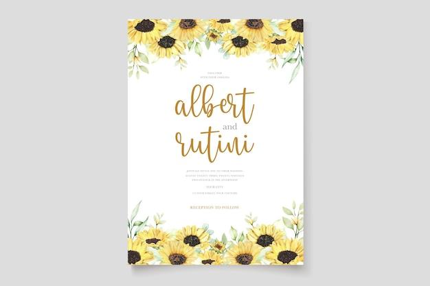 Set di carte di invito a nozze girasole acquerello