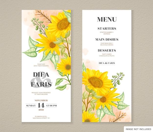Set di biglietti d'invito per matrimonio con girasole ad acquerello