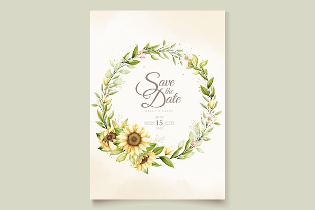 Carta di invito matrimonio acquerello girasole