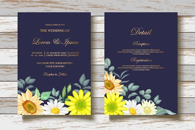 Biglietto d'invito matrimonio girasole acquerello
