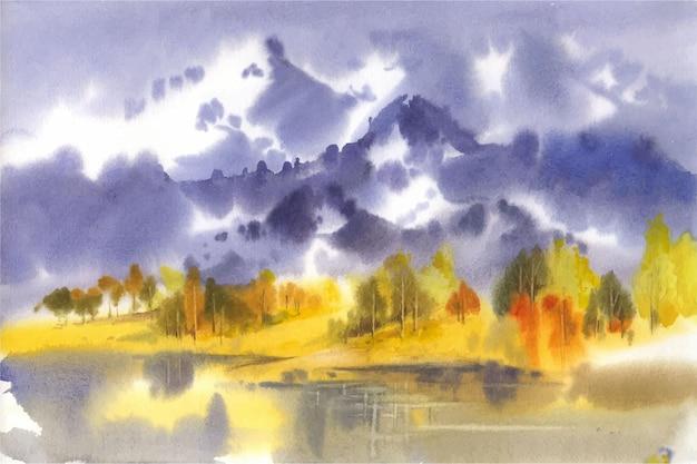 Alba dell'acquerello sopra la carta da parati delle montagne
