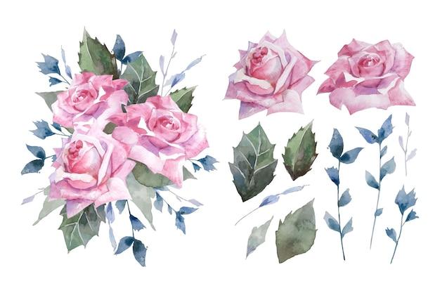 Rosa di tè dell'acquerello con stile retrò botanico foglia verde