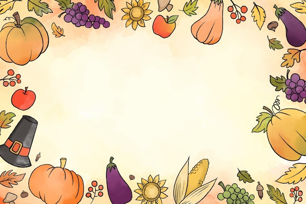 Concetto di sfondo del giorno del ringraziamento dell'acquerello