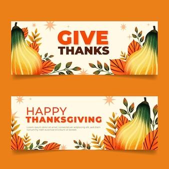 Set di banner orizzontali di ringraziamento dell'acquerello
