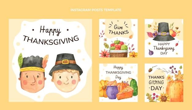 Collezione di post di instagram del ringraziamento ad acquerello