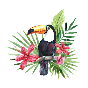 Tucano acquerello con foglie e fiori di palma tropicale