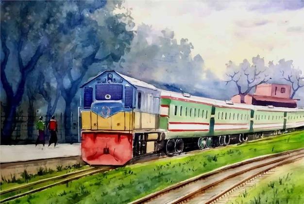 Illustrazione disegnata a mano dell'acquerello del treno e della stazione ferroviaria