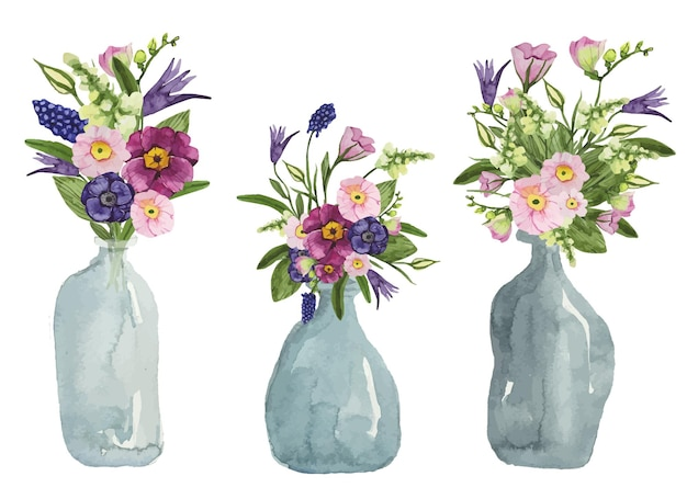 Bottiglie trasparenti dell'acquerello con un mazzo di fiori