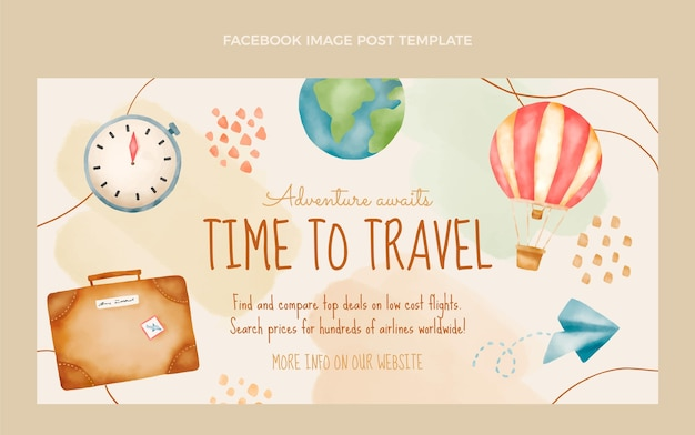 Post facebook di viaggio ad acquerello