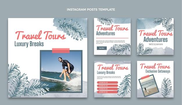 Post instagram di viaggio ad acquerello Vettore Premium