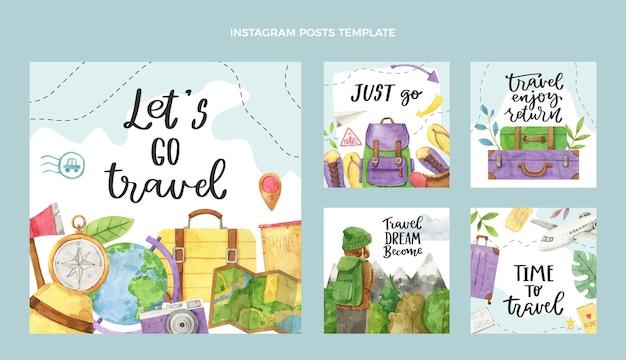 Post instagram di viaggio ad acquerello