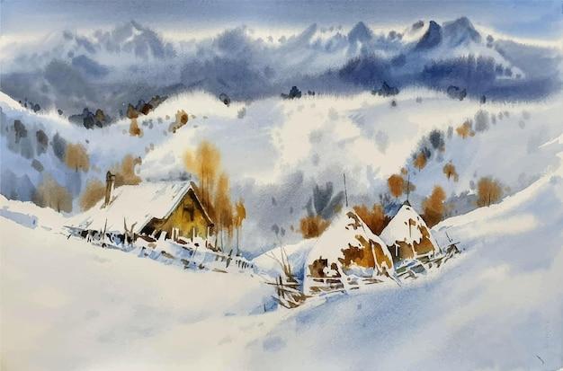 Resort di viaggio dell'acquerello in montagna
