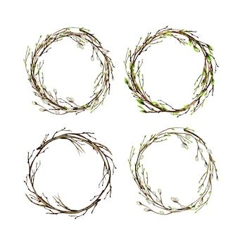 Ramo di albero dell'acquerello con foglie verdi, salice.