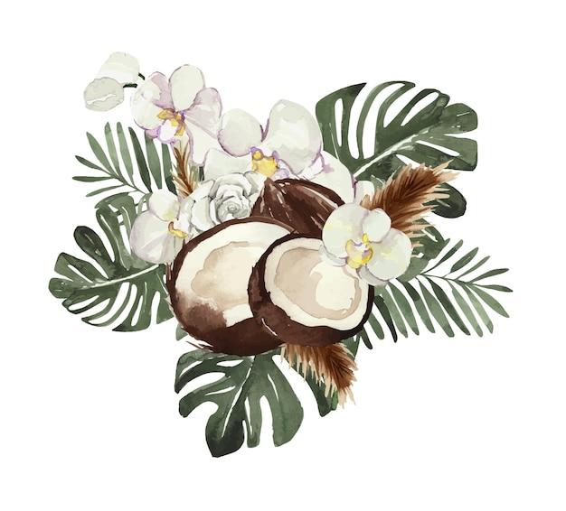 Bouquet tropicale acquerello con cocco e orchidea