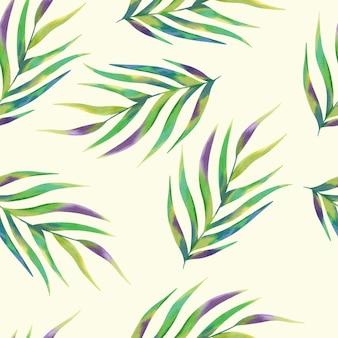Fondo variopinto tropicale del modello delle foglie di palma dell'acquerello