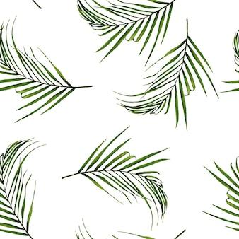 Fondo tropicale del modello delle foglie di palma dell'acquerello