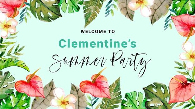 Banner festa estiva tropicale dell'acquerello