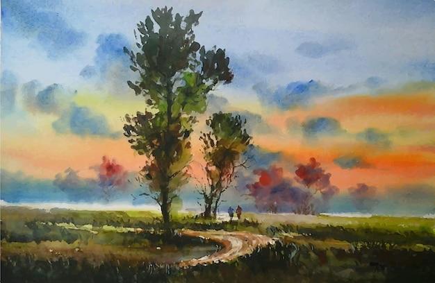 Paesaggio del crepuscolo dell'acquerello
