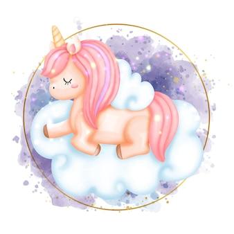 Illustrazione dell'acquerello di unicorno