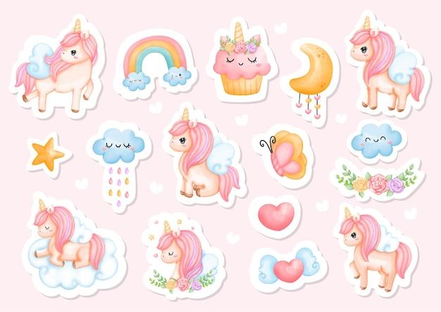 Illustrazione di adesivo unicorno dell'acquerello