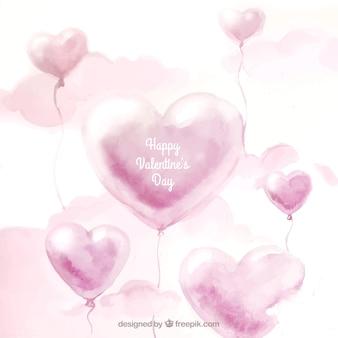 Acquerello san valentino sfondo con palloncini e nuvole