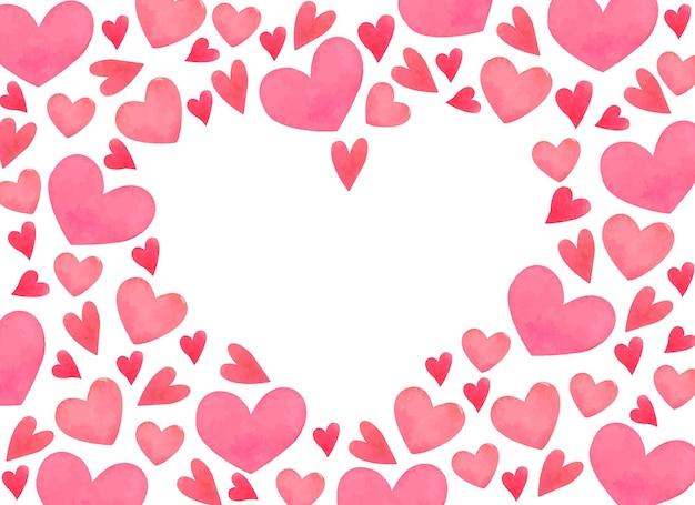 Cornice di san valentino dell'acquerello con cuori rosa