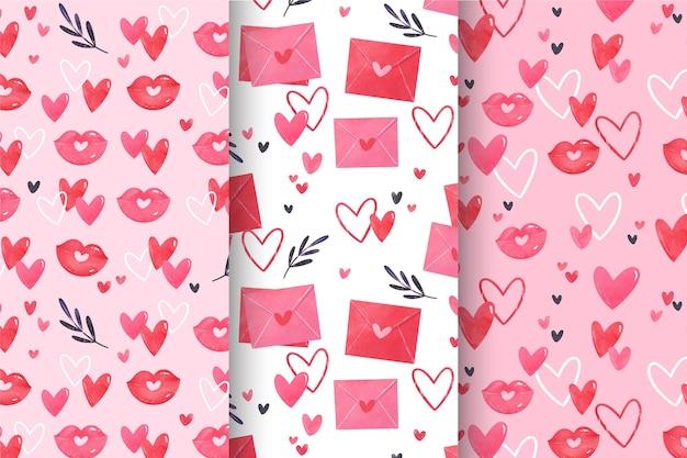 Collezione di pattern di san valentino dell'acquerello