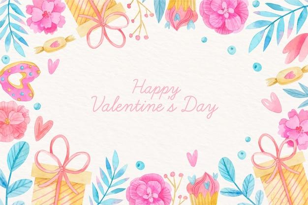 Fondo di giorno di biglietti di s. valentino dell'acquerello