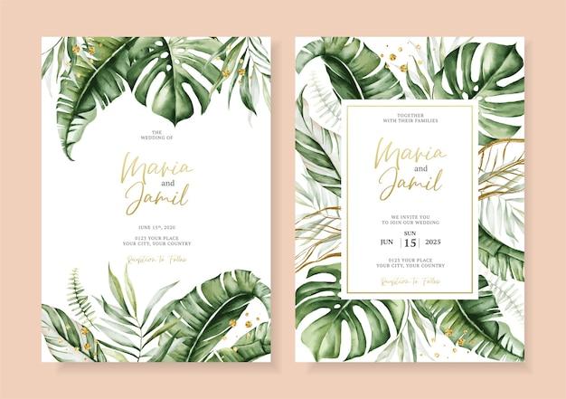 Insieme di vettore dell'acquerello disegno del modello di carta di invito a nozze con cornice di foglie tropicali Vettore Premium