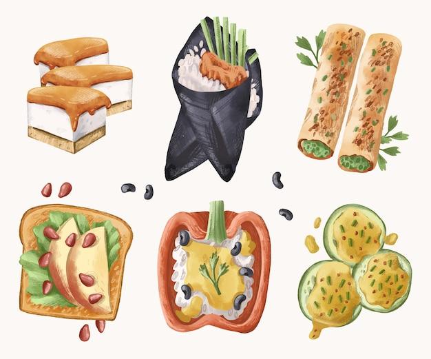 Collezione di cibo vegetariano ad acquerello
