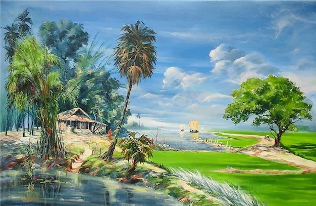 Acquerello village road con paesaggio fluviale