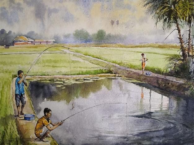 Illustrazione disegnata a mano della pittura di paesaggio di scena del villaggio dell'acquerello