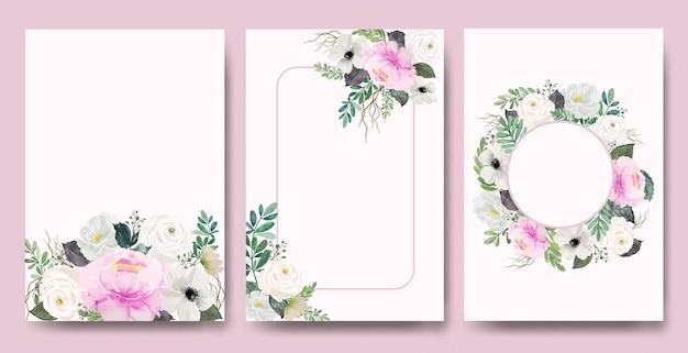 Acquerello vintage rosa e rose bianche carta cornice set
