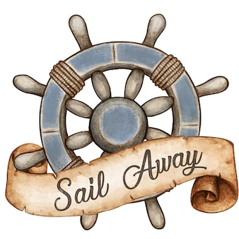 Ruota nautica stile vintage dell'acquerello con banner messaggio di scorrimento antico