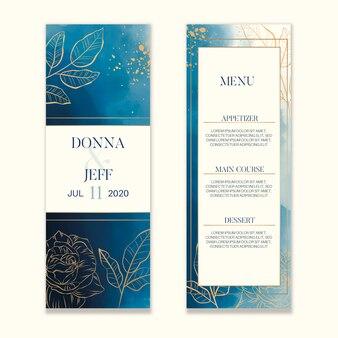 Acquerello lava il menu di nozze con fiori dorati